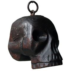 18th Century Oak and Iron Mounted Memento Mori Doorstop Carved as a Human Skull