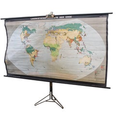 Massive German Map Poster Stand Holder with World Economy Map