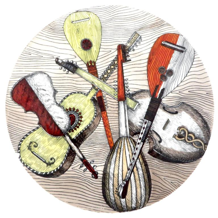 Piero Fornasetti Plate with a Variety of Musical Instruments