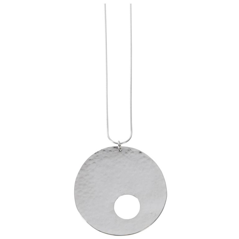 Limited Edition Sterling Silver Gong Style Pendant Designed by Harry Bertoia
