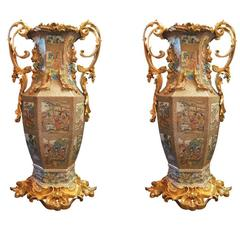 Magnificent Tall Antique Chinese Royal Canton Family Rose Medallion Vases