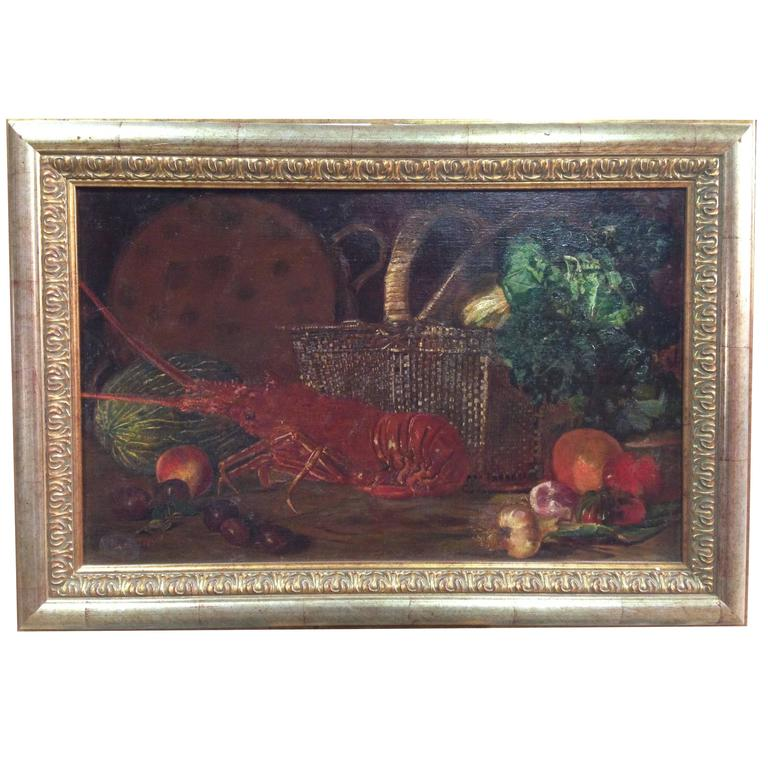 """Spanish Painting """"Still Life with Lobster"""" Signed and Dated 1883"""