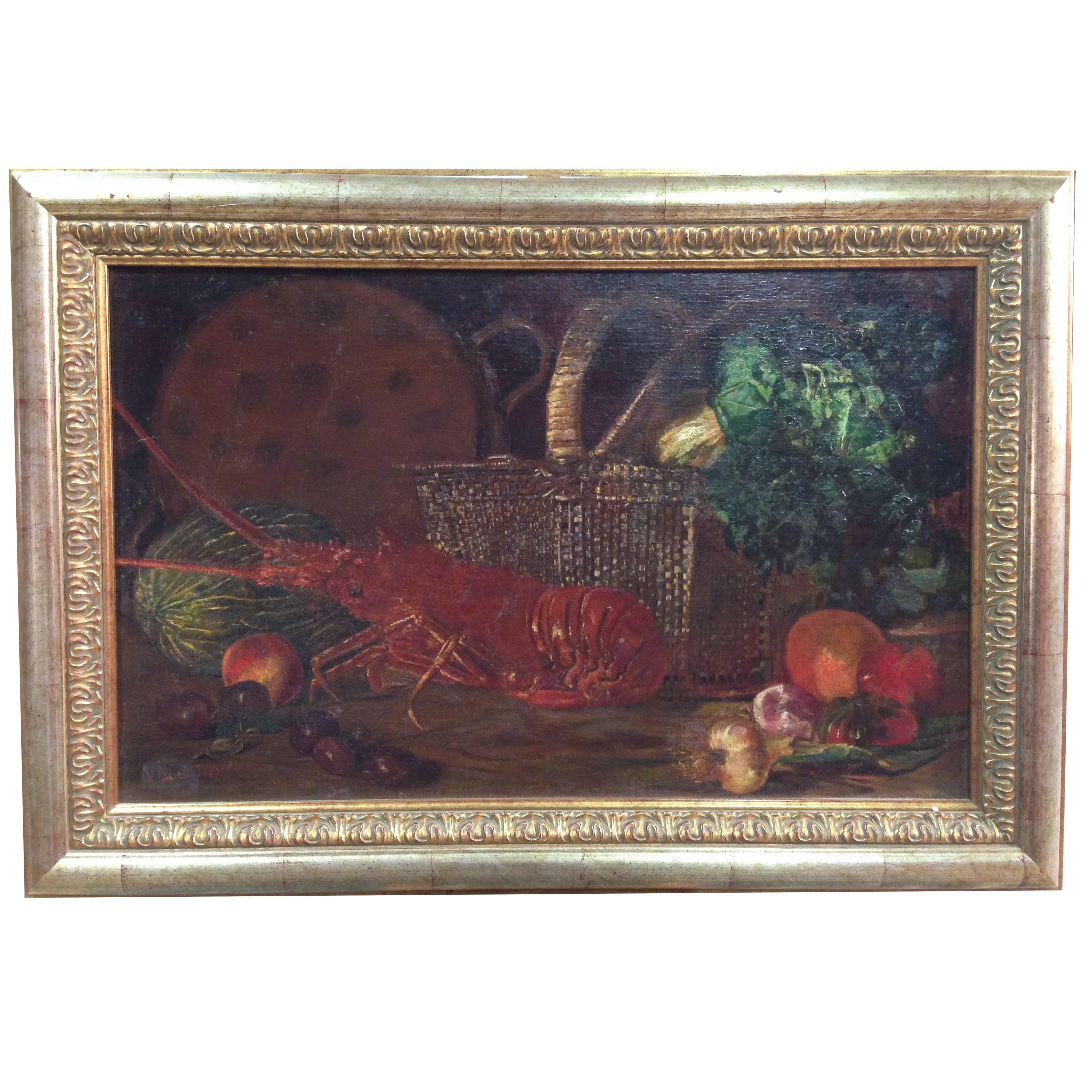 "Spanish Painting ""Still Life with Lobster"" Signed and Dated 1883"