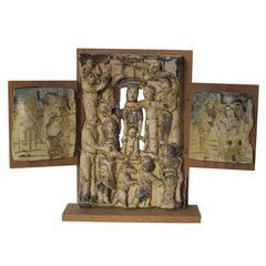 Lies Cosijn, Stoneware Triptych on Wooden Boards, 1997