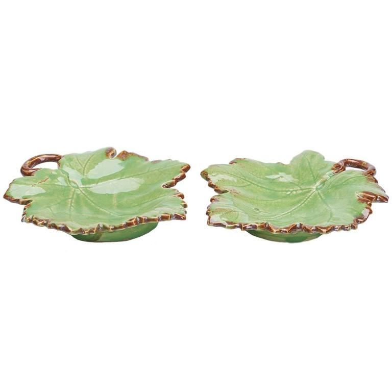 Greber Pair of French Art Pottery Green Leaf Dishes, circa 1899-1933 For Sale