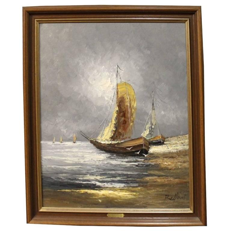 Oil Painting on Canvas of Ships Out at Sea Signed Belfort, 1950s