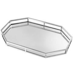 Sigma Tray in Nickel Finish and Mirror Glass