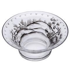 Josef Lenhardt Steinschonau Schwarzlot Glass Bowl, 19th-20th Century