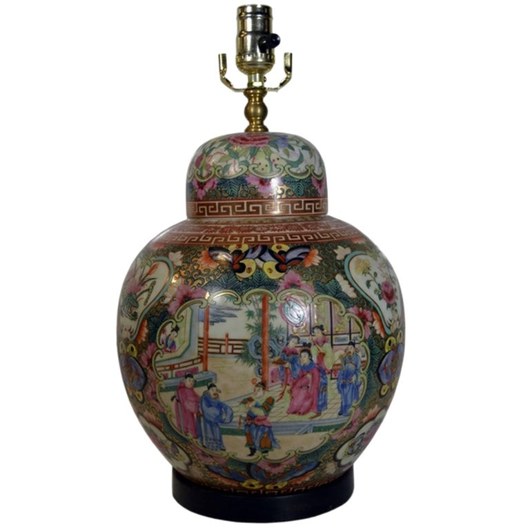 Vintage Hand-Painted Porcelain Lamp with Chinoiserie from 1970s, China