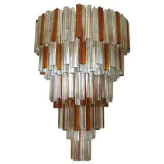 Italian Murano Triedri Glass Crystals Chandelier by Venini