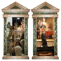 Pair of 19th Century Italian Faux Marble and Silver Leafed Pier Mirrors