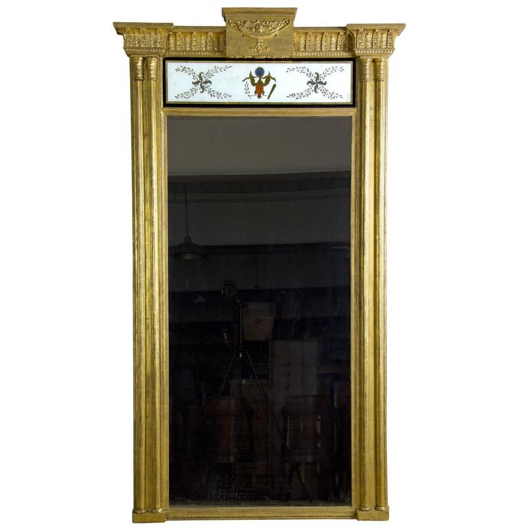 Monumental Gilt Pier Mirror with Reverse Painting with American Eagle
