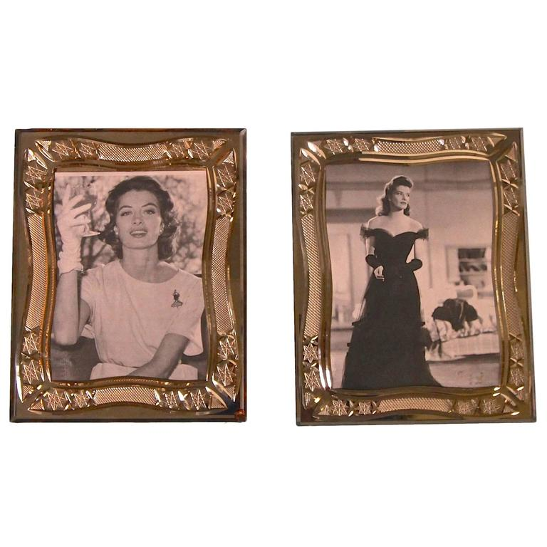 pair of deco cut glass picture frames at 1stdibs