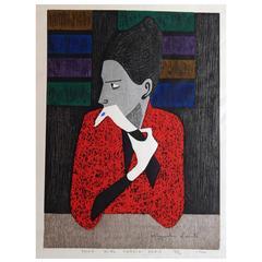 "Kiyoshi Saito Color Woodblock, 1960, ""Shop Girl-Cardin, Paris"""