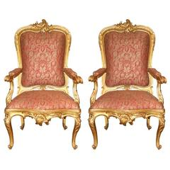 Pair of 18th Century Roman Louis XV Giltwood Rocaille Fauteuil Armchairs
