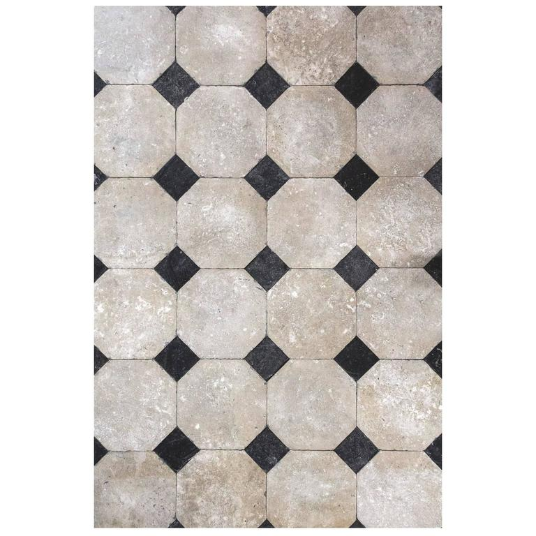 Octagonal limestone flooring, new, offered by Pittet Architecturals