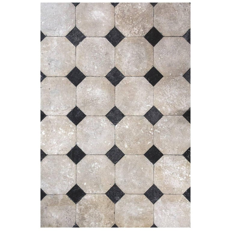 French Octagonal Limestone Flooring For Sale