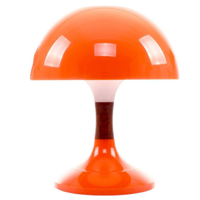Awesome Karina Table Lamp, Bent Karlby, 1971, Mid Century Orange Desk Lamp With