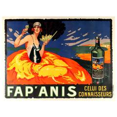 Large Original Vintage French Liquor Alcohol Drink Advertising Poster - Fap'anis