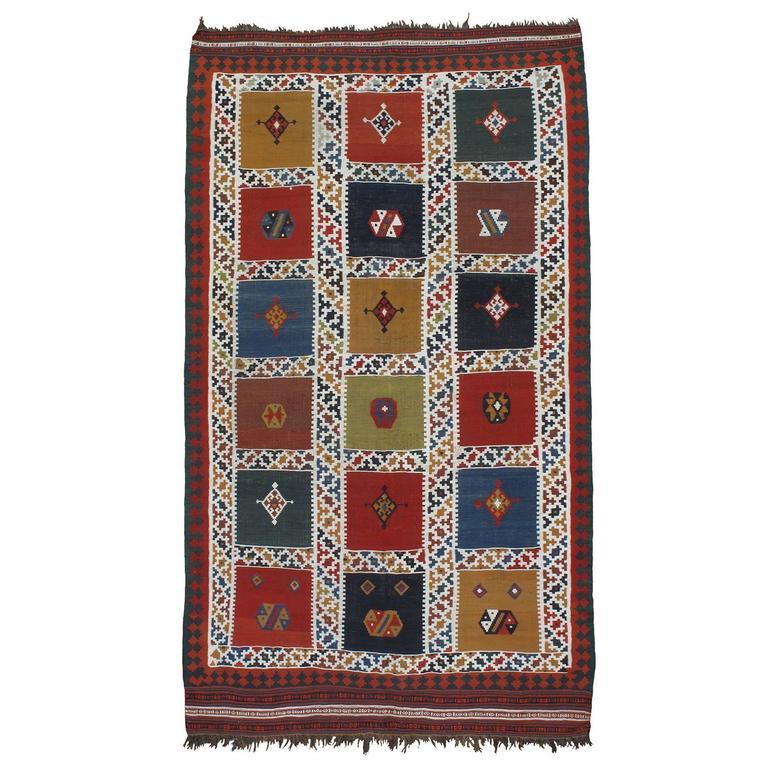Antique Qashqai Kilim Rug For Sale