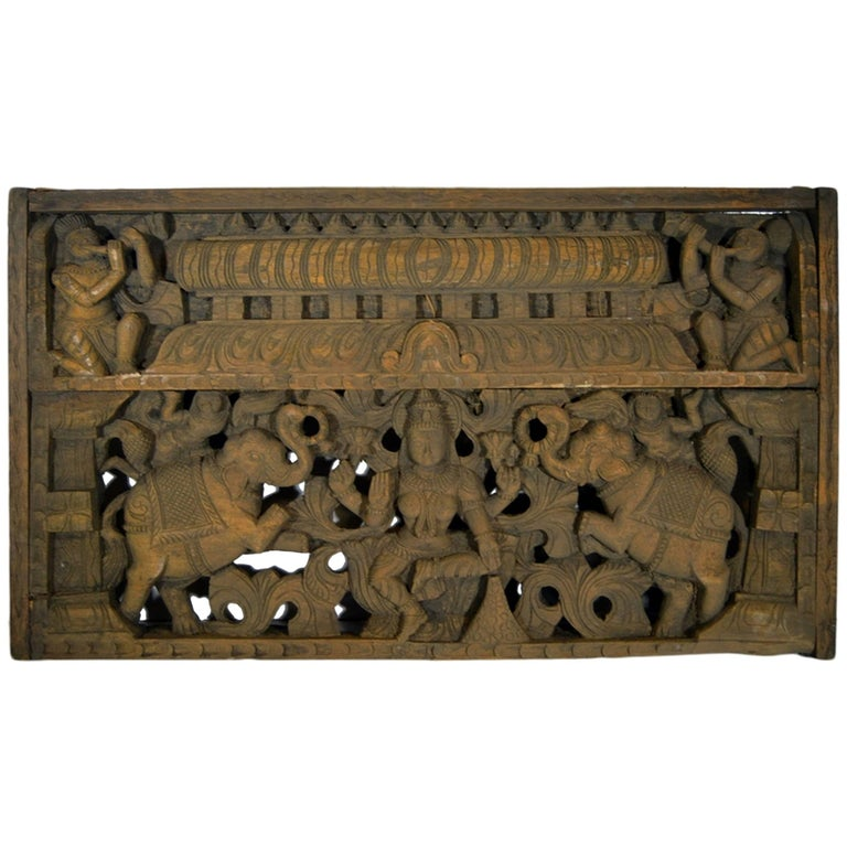 Antique Indian Hand-Carved Sheesham Religious Temple Plaque, Early 20th Century