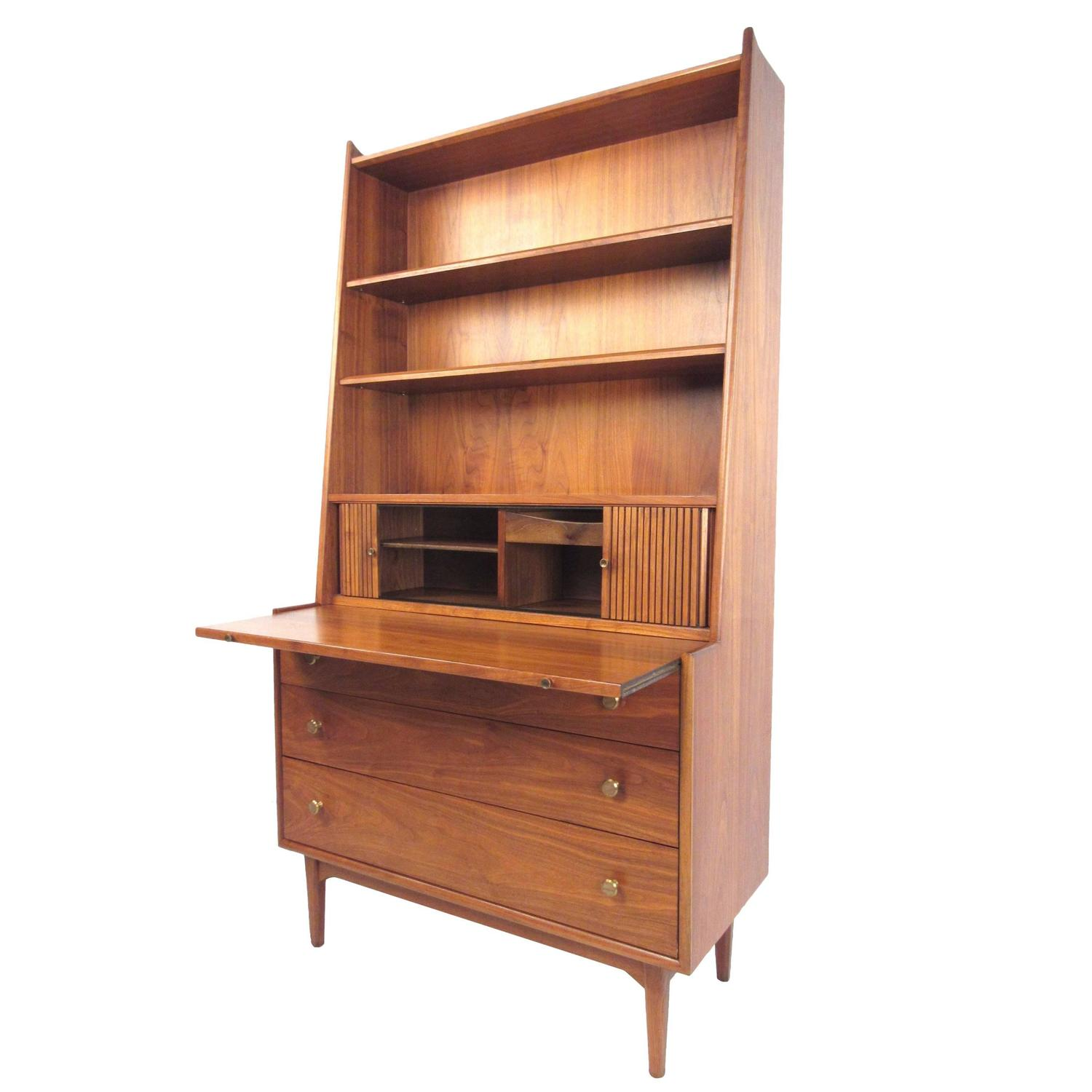 mid century modern bookcase with writing desk by kipp stewart for