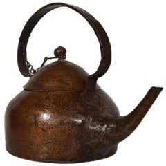 Vintage Hand-Hammered Copper Teapot with Patina from 20th Century, India