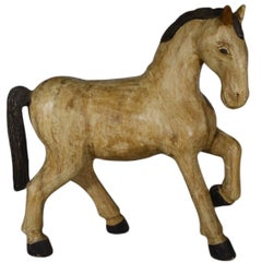 Vintage Indonesia Hand-Carved Painted Wood Horse from the Mid-20th Century