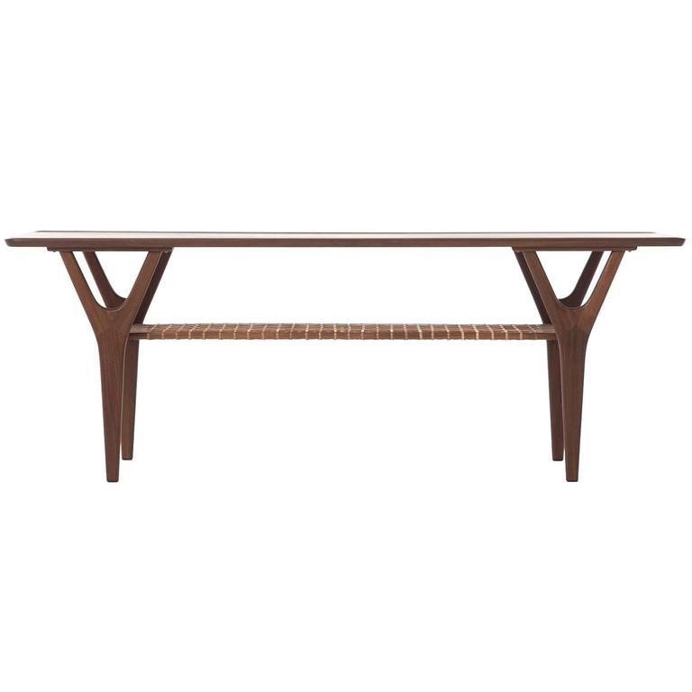 Coffee Table with Cane Shelf