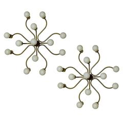 Set of Four Sculptural Ceiling or Wall Lights Flush Mounts Chandeliers Leola 60s
