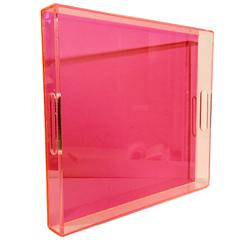 21st Century Lucite Custom Hot Pink Cut-Out Handle Tray