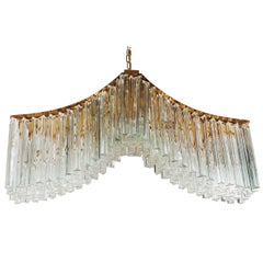 Italian Modern Monumental Murano Brass and Glass Crystal Chandelier by Camer