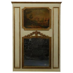 19th Century French Trumeau Mirror Oil Painting Giltwood Overmantel