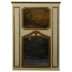 19th Century French Trumeau Mirror Oil Painting Giltwood over mantel