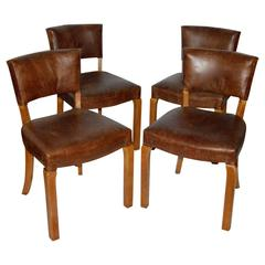 20th Century Art Deco Leather Dining Chairs