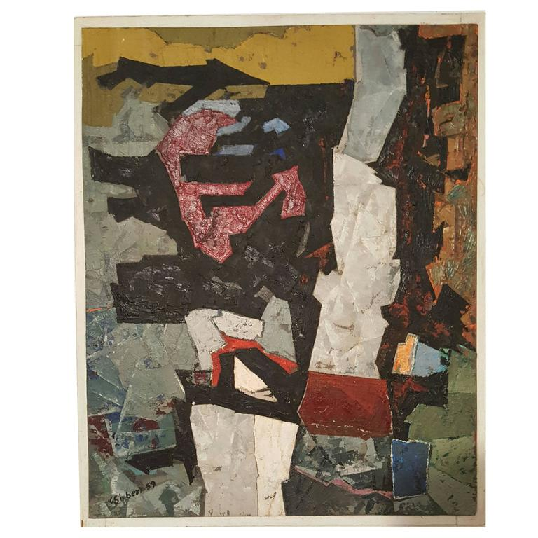 Modern Abstract Oil on Board, Painting by K.Siebert, circa 1959
