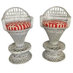 Pair Of Russell Woodard Spun Fiberglass Barstool & Cushions
