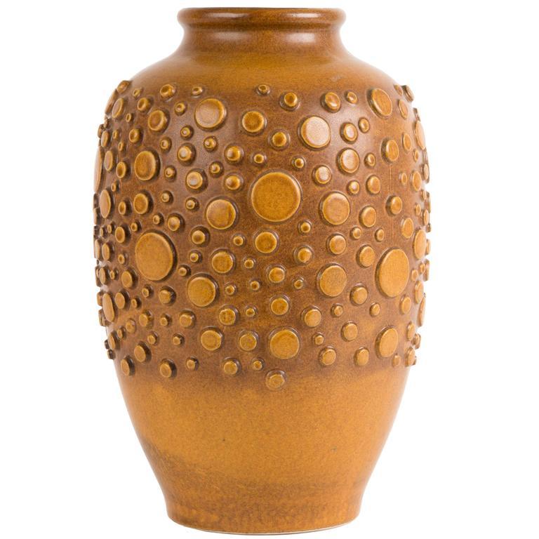 HUGH BRUTALIST  polka dot vase ceramic For Sale