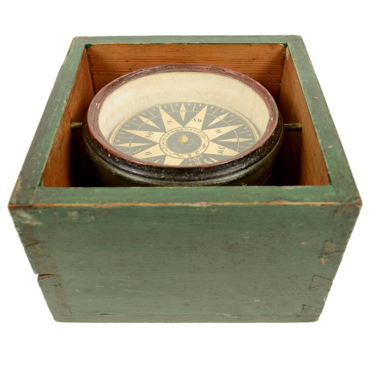 Dry Magnetic Compass Signed J. S. Stockholm, Early 19th Century