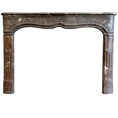 Louis 14 Style Belgium Red Brown Marble Fireplace, 19th Century