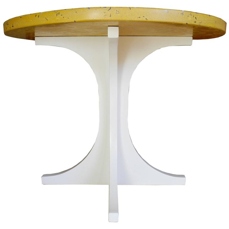 Yellow Concrete and Wood Side Table Designed by CR Studio