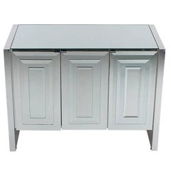 Mirrored Art Deco Credenza or Cabinet by Ello after Pierre Cardin or Paul Evans