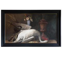 19th Century Still Live Oil on Canvas, with a Swan and a Wild Boar
