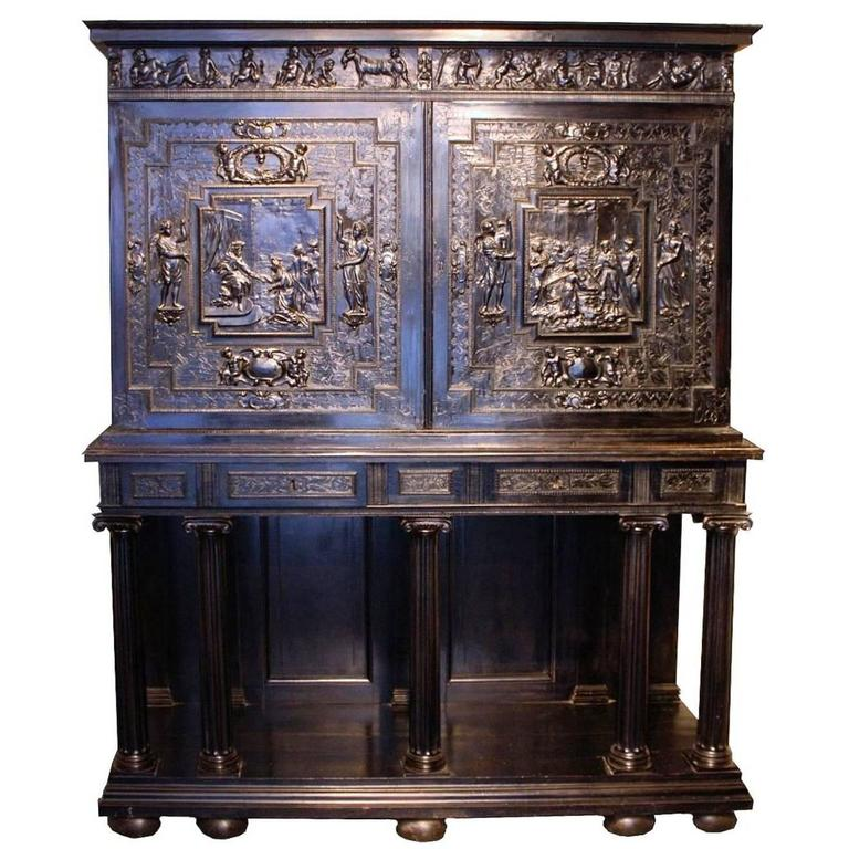 fabulous 17th century carved ebony cabinet on stand paris france circa 1640 for sale at 1stdibs. Black Bedroom Furniture Sets. Home Design Ideas