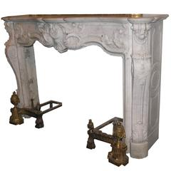Antique Rocaille Marble Fireplace