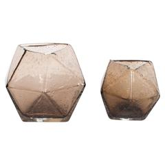 Pair of Modernist Handblown Smoked Glass Polyhedral Sphere Vases