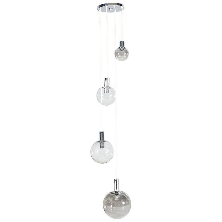 Mid-Century Four-Tier Chrome Pendant Chandelier with Globe Lights