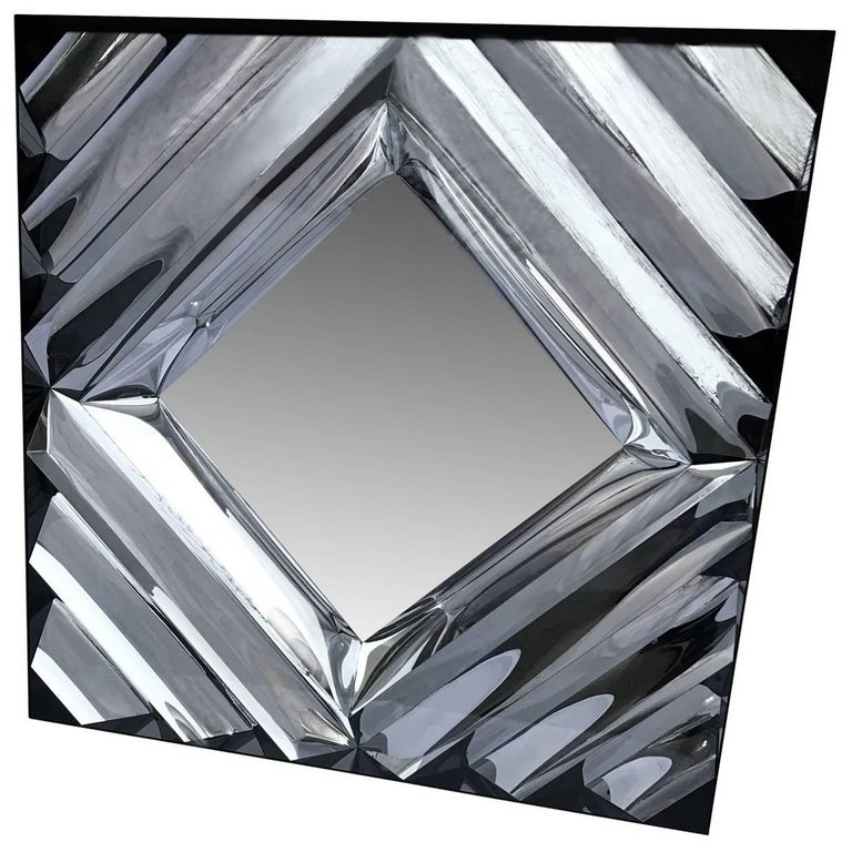 Square Mid-Century Modern Wall Mirror For Sale