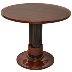 French Art Deco Rosewood Veneer and Ebonized Wood Side Table