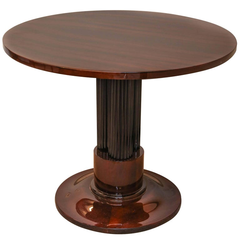 French Art Deco Rosewood Veneer and Ebonized Wood Side Table For Sale